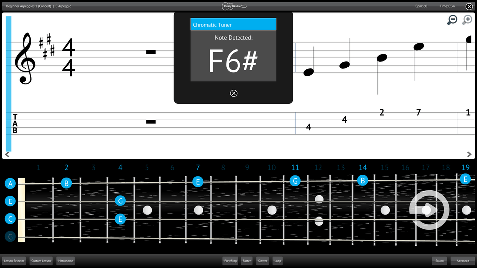 Purely Ukulele Screenshot Chromatic Tuner