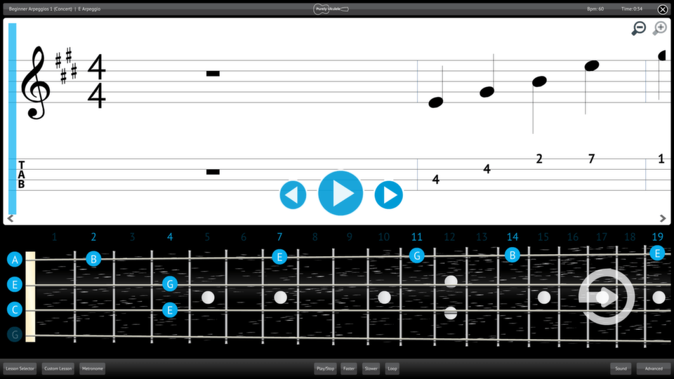 Purely Ukulele Screenshot Lesson Selector