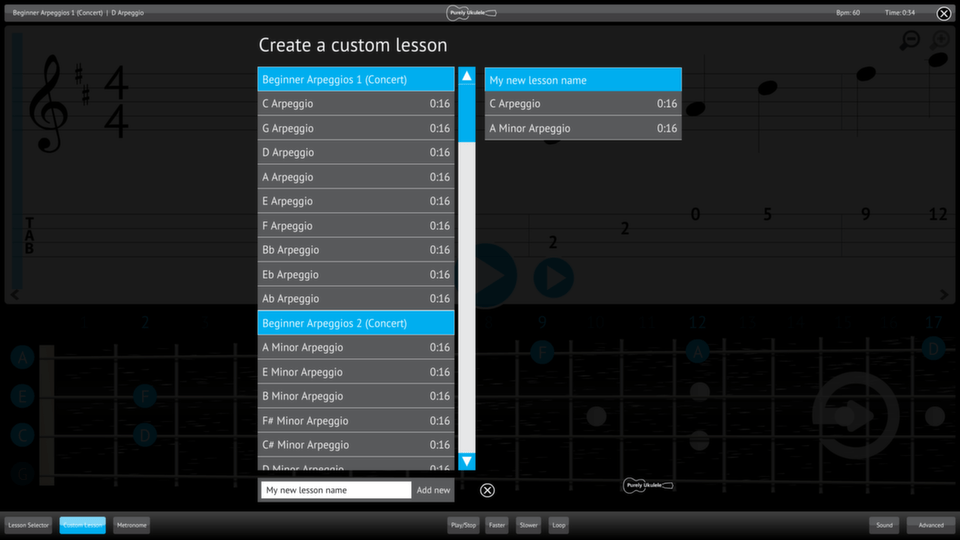 Purely Ukulele Screenshot Custom Lesson