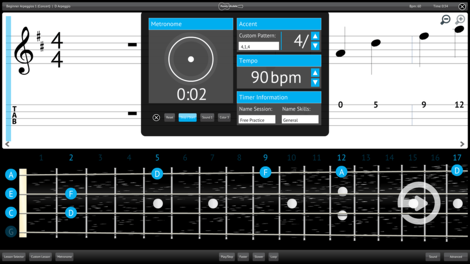 Purely Ukulele Screenshot Custom Metronome