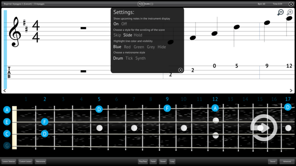 Purely Ukulele Screenshot Settings