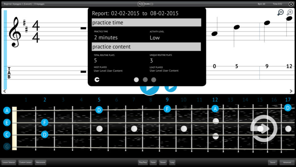 Purely Ukulele Screenshot Reporting Measuring Progress