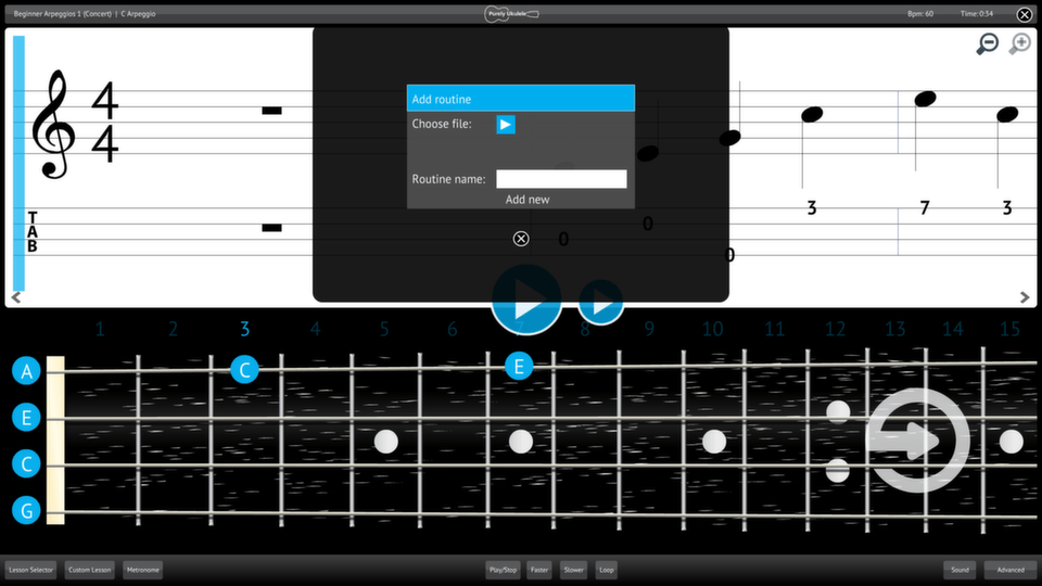 Purely Ukulele Screenshot Add Import Content